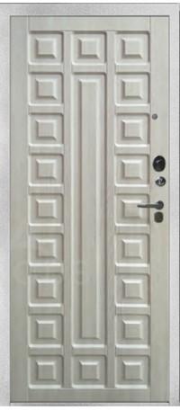 СЕЙФ-ДВЕРЬ АРГУС «ДА-84/2 СЕНАТОР ЛАРЧЕ» (Серебро на белом) снаружи