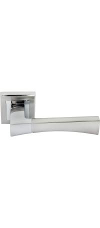 Дверные ручки RUCETTI RAP 12-S SN/CP Цвет - Белый никель/Хром полированный снаружи