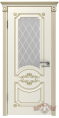 Дверь Владимирская фабрика дверей 'МИЛАНА' 42ДО1, эмаль слон.кость/пат. золото, стекло белое