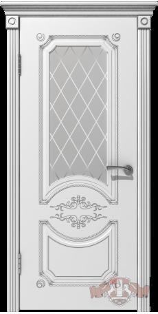 Дверь Владимирская фабрика дверей 'МИЛАНА' 42ДО0, белая эмаль/патина серебро, стекло белое снаружи