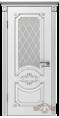 Дверь Владимирская фабрика дверей 'МИЛАНА' 42ДО0, белая эмаль/патина серебро, стекло белое