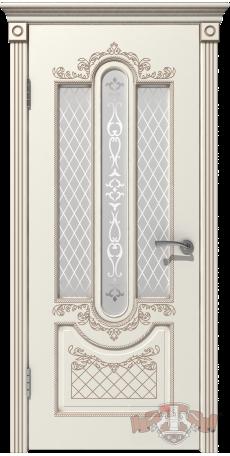 Дверь Владимирская фабрика дверей 'АЛЕКСАНДРИЯ' 41ДО01, эмаль слон.кость/пат.капучино, стекло белое снаружи