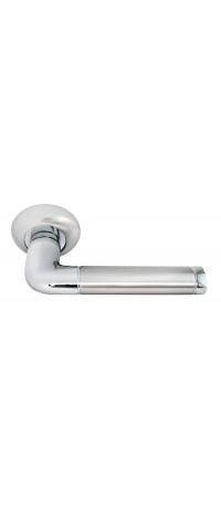 Дверные ручки RUCETTI RAP 2 SN/CP Цвет - Белый никель/Хром снаружи
