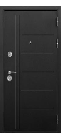 СЕЙФ-ДВЕРЬ MODENA DOOR «ТРОЯ» 10 мм. Черный Муар/Лиственница Мокко внутри