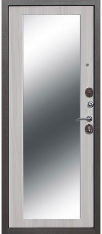 СЕЙФ-ДВЕРЬ MODENA DOOR «ТРОЯ» MAXI ЗЕРКАЛО 10 мм. Серебро антик/Зеркало Дуб санома снаружи