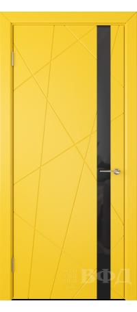 Дверь Владимирская фабрика дверей 'Флитта' Желтая эмаль 26ДОО8 Лакобель черное