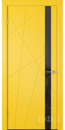 Дверь Владимирская фабрика дверей 'Флитта' Желтая эмаль 26ДОО8 Лакобель черное снаружи