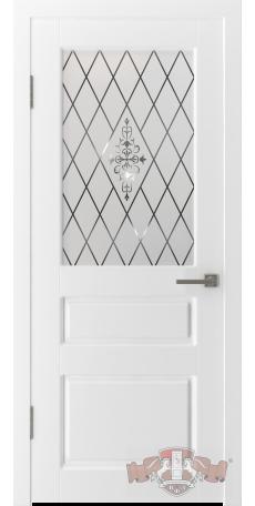 Дверь Владимирская фабрика дверей 'ЧЕСТЕР' 15ДО0, белая эмаль (стекло №1) снаружи