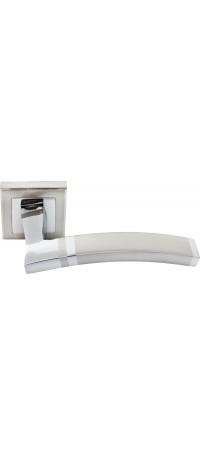 Дверные ручки RUCETTI RAP 13-S SN/CP Цвет - Белый никель/Хром полированный снаружи