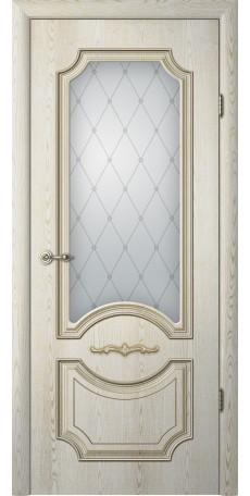 ДВЕРИ ALBERO  'Леонардо' с патиной Ясень голд, стекло мателюкс 'Классика' (ДО) снаружи