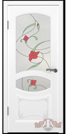 Дверь Владимирская фабрика дверей 'ВЕРСАЛЬ' 13ДР0, белая эмаль (стекло №3) снаружи